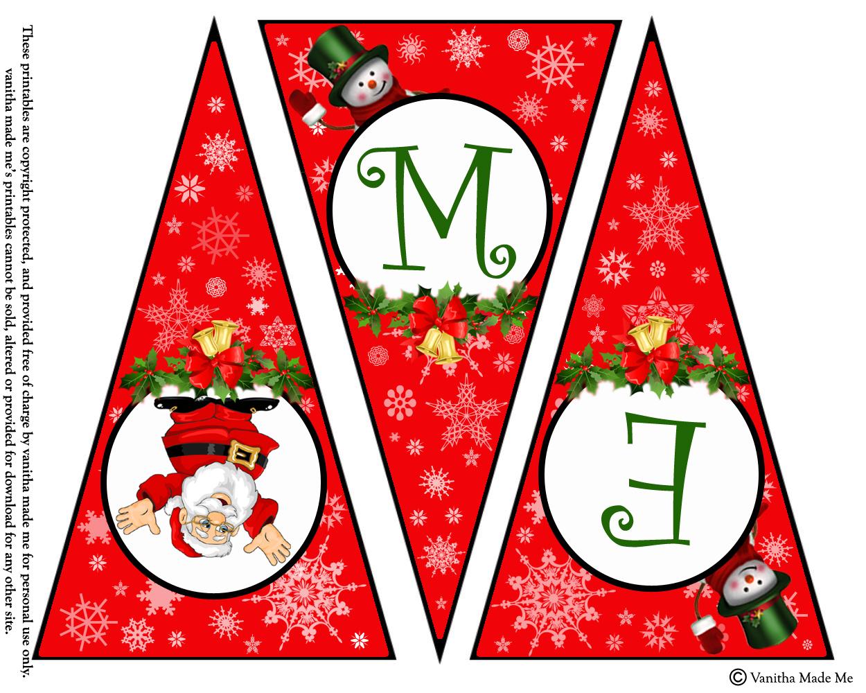 Diy Free Printable Christmas Banner