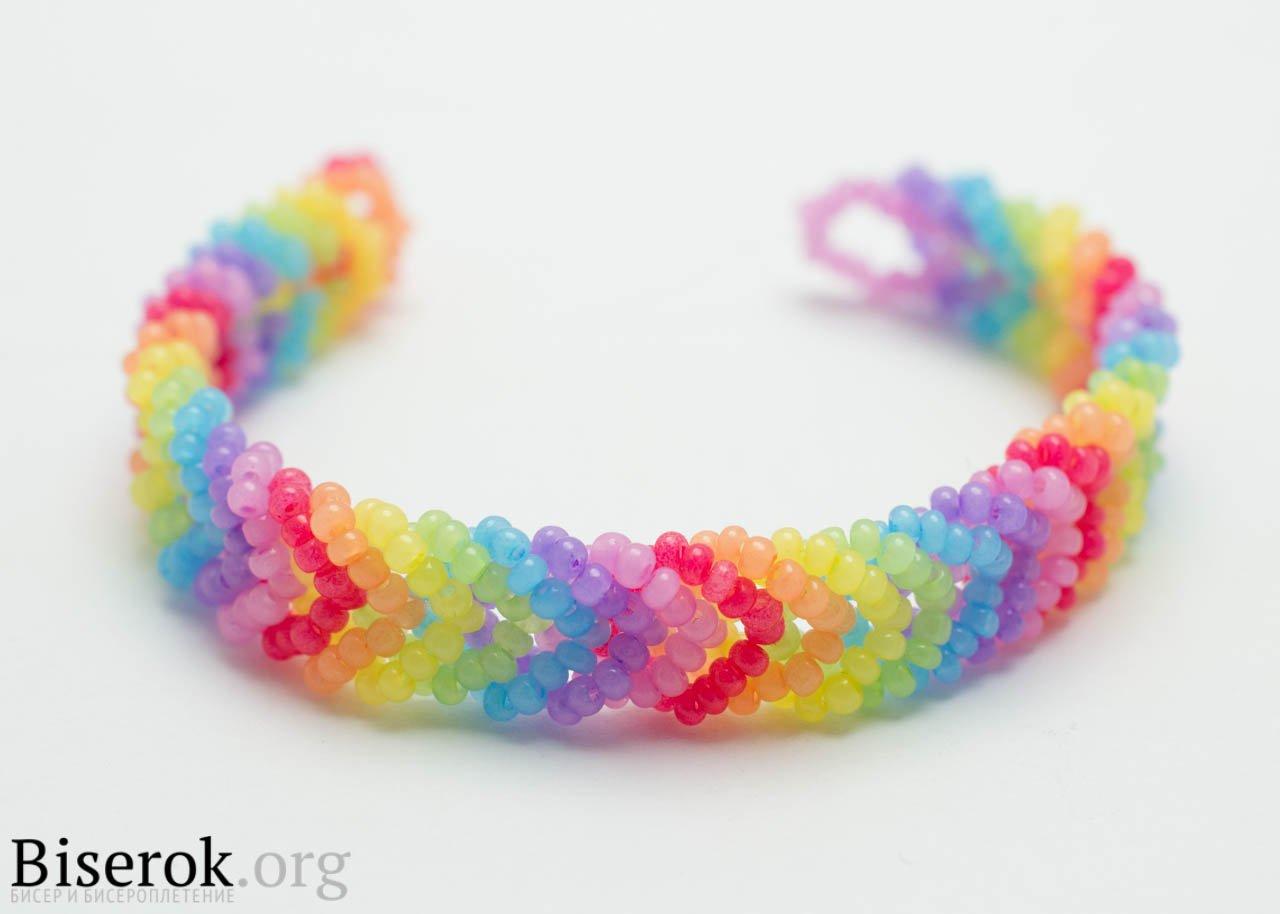 DIY Rainbow Color Woven Beaded Bracelet