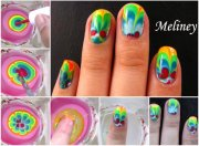 diy rainbow marble nail art