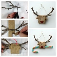 Creative hands DIY Reindeer made from Burlap Ribbon