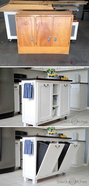 DIY Wood TiltOut Trash Can Cabinet