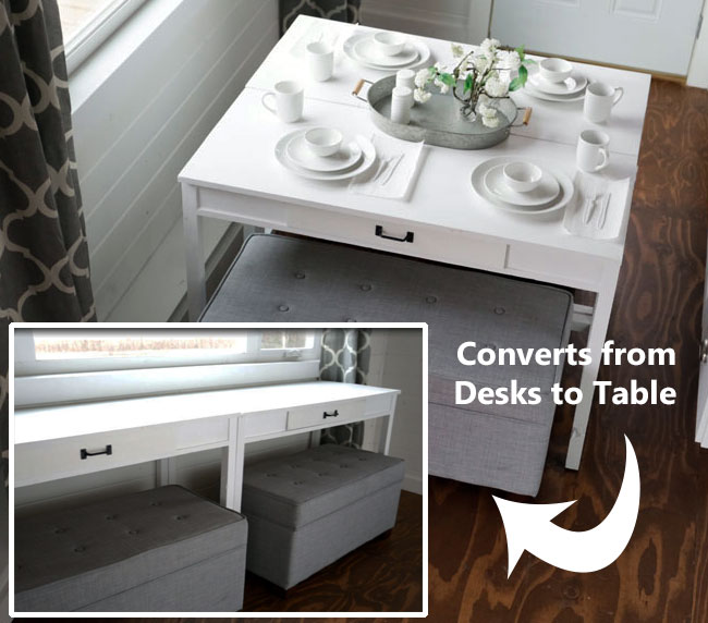 DIY Convertible DeskSpace Saving Idea