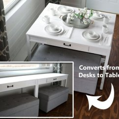 Kitchen Table And Corner Bench Tall Cabinet Diy Convertible Desk-space Saving Idea