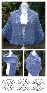 Simple Crochet Lacy Shell Stitch Shawl Free Pattern for