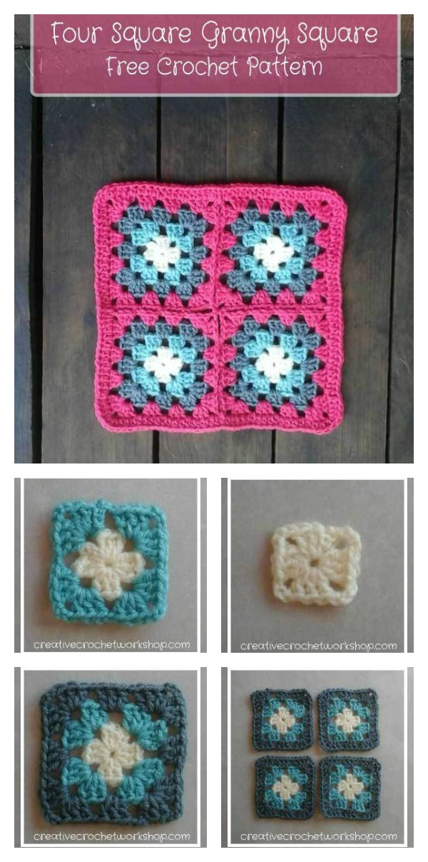 crochet granny square diagram baseball field printable layout four free pattern cool creativities amazing overlapping blanket