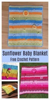 3D Sunflower Baby Blanket Free Crochet Pattern