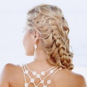 blonde curly hair style side braid