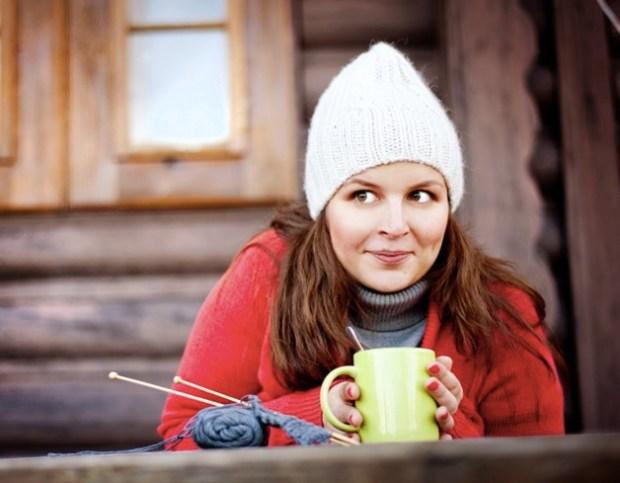 Winter girl knitting