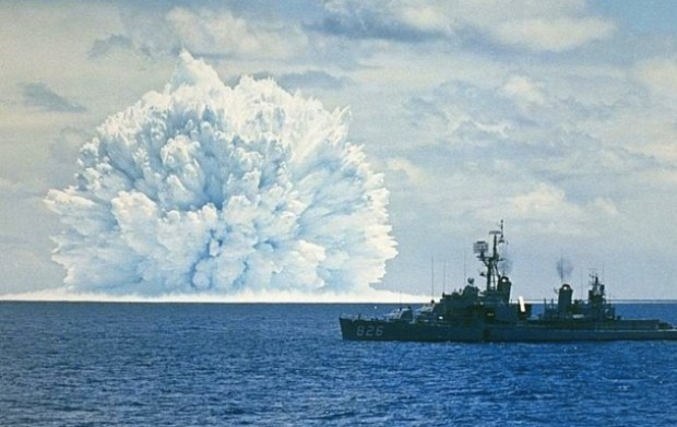 An underwater nuclear test being conducted during Operation Dominic, Pacific Coast off California, 11 May 1962