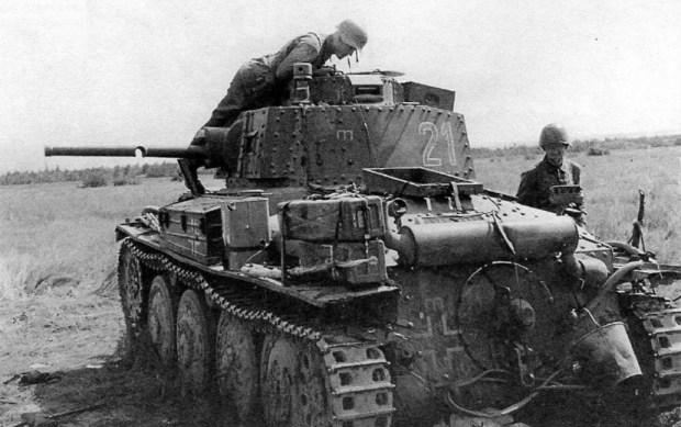 German Panzerkampfwagen 38(t) tank neatly shot through the barrel - Belarus 1941