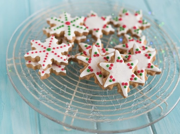 close-up-of-a-plate-of-snowflake-and-star-shaped-cookies