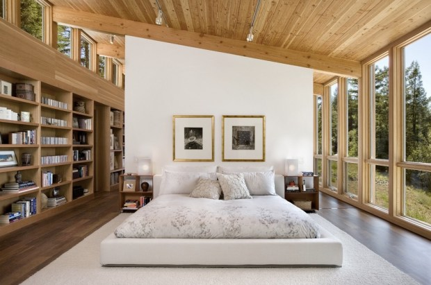 Bedroom in a modern cottage located in Sebastopol, California