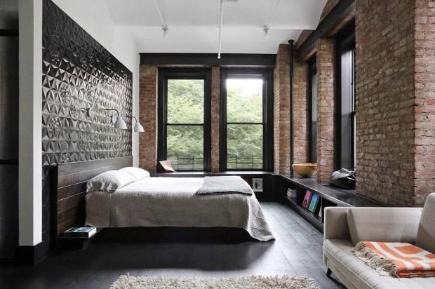 Bedroom in an industrial loft apartment in San Francisco