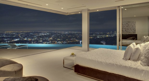 Bedroom with a city view