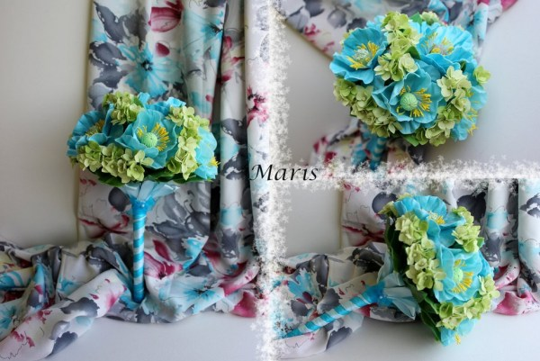Sky blue poppy bouquet