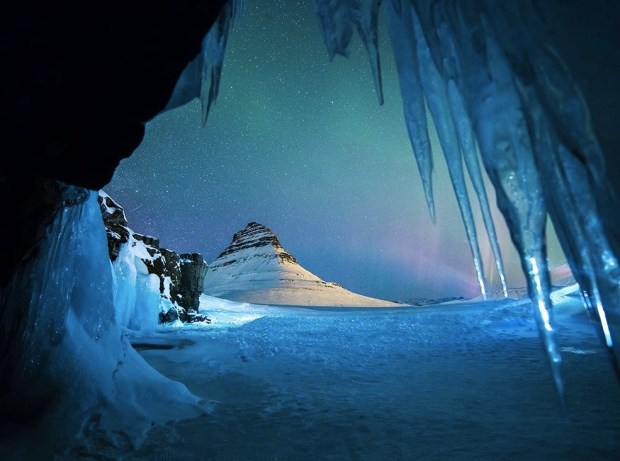 Mountain and icicles, Iceland