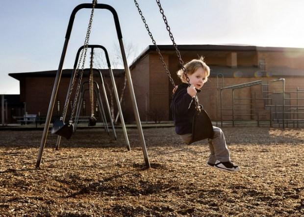 A boy on swing