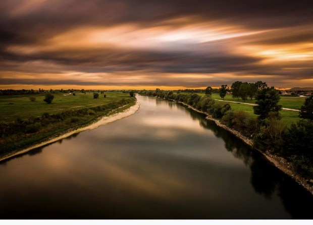 River Sava shot from one of the bridges in Zagreb, Croatia