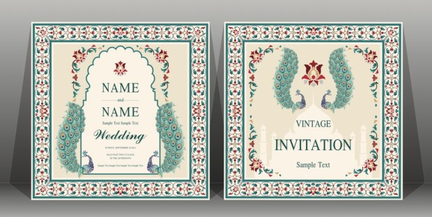 Indian wedding Invitation card templates with flower, peacock patterned