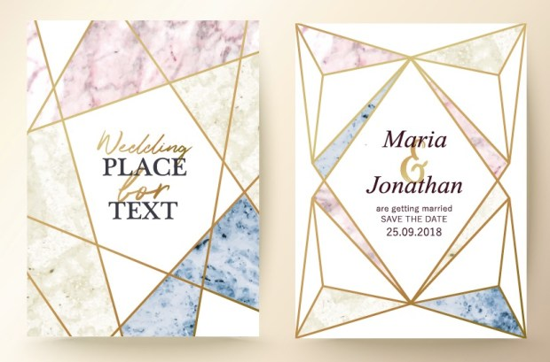 Marble texture background with geometric frame and gold