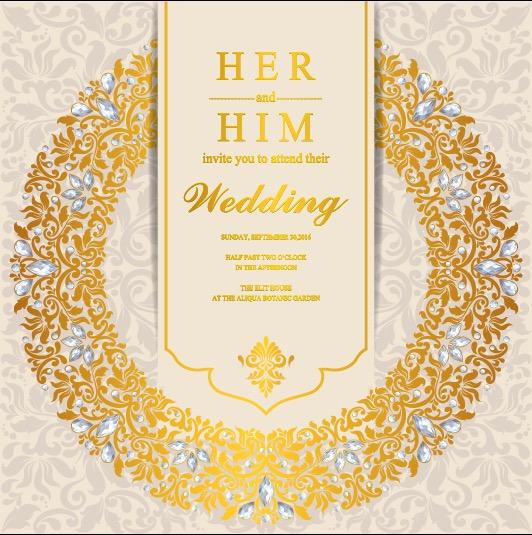 Wedding invitation or card with abstract background. Islam, Arabic, Indian, Dubai
