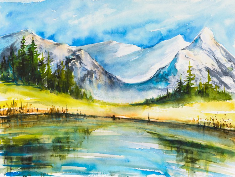 Landscape watercolor painting of snow covered mountains with a lake