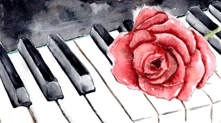 Red rose on the piano. Watercolor flower