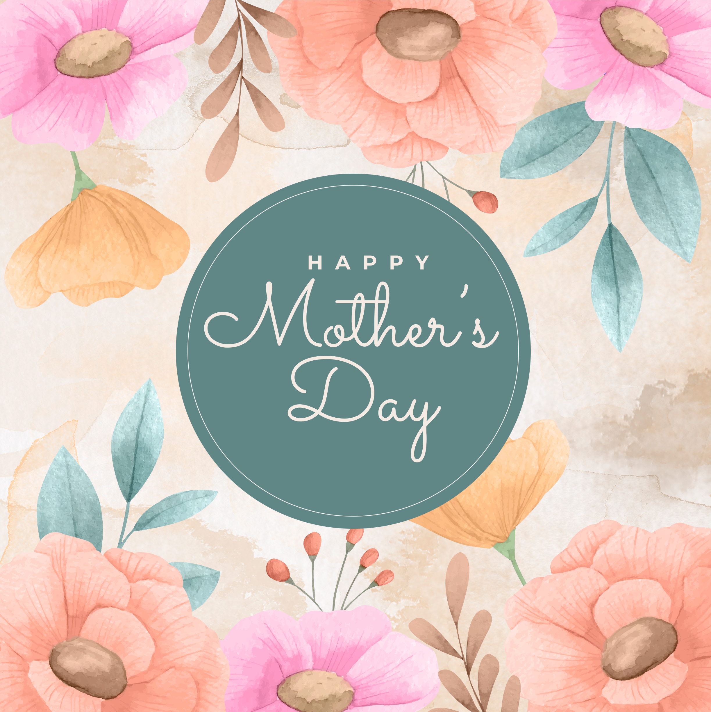 Happy Mothers day with beautiful painted flower background 2446 x 2448