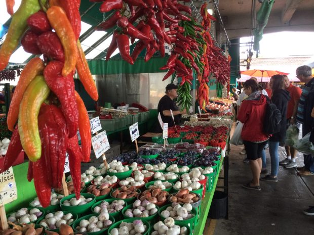 Jean Talon Market Montreal mushrooms peppers