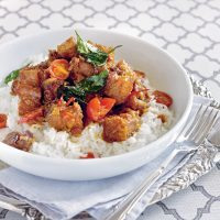 Crisp-fried pork belly with sticky tomato shrimp paste sauce