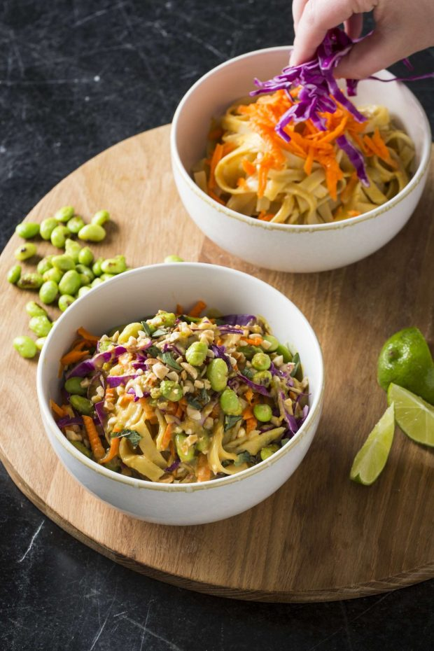 Edamame and Spicy Peanut Noodle Bowls