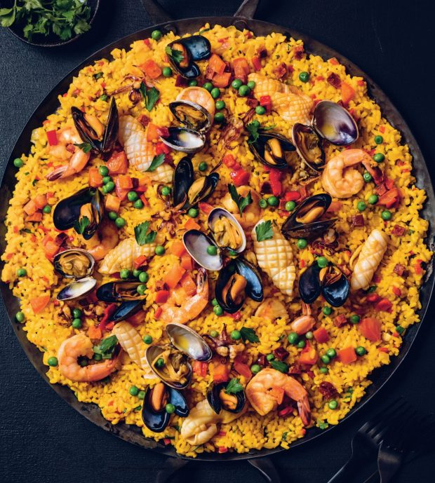 Seafood and Chorizo Paella By David Robertson, Gather: A Dirty Apron Cookbook, Photography by Kevin Clark