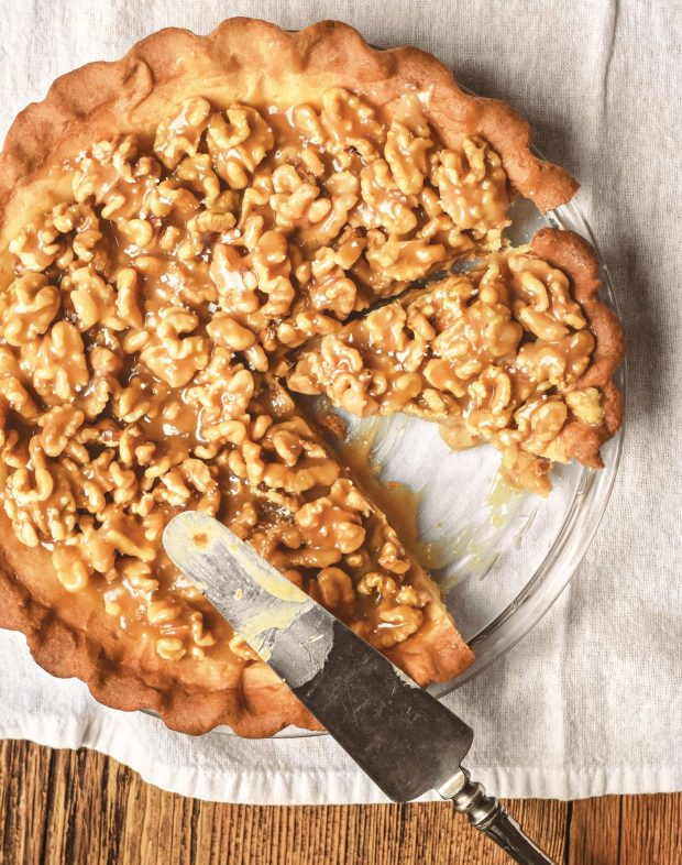 Rustic French Cooking Made Easy: Authentic, Regional Flavors from Provence, Brittany, Alsace and Beyond , Salted Caramel Walnut Tart, Photography by Audrey Le Goff and Karly Schaefer.