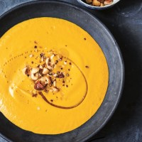 Rosemary Butternut Squash Soup with Toasted-Hazelnut Milk