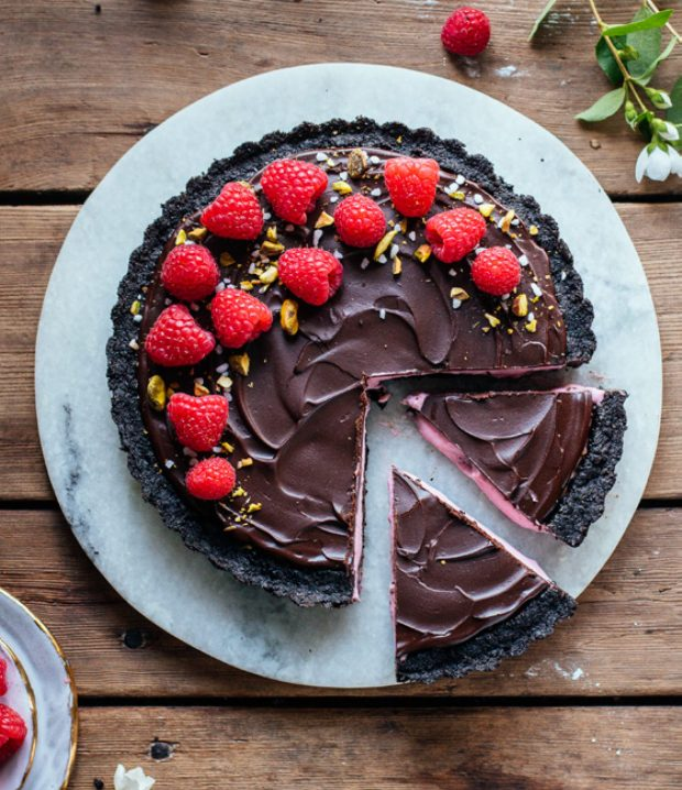 Raspberry Tart with Chocolate Crust and Ganache