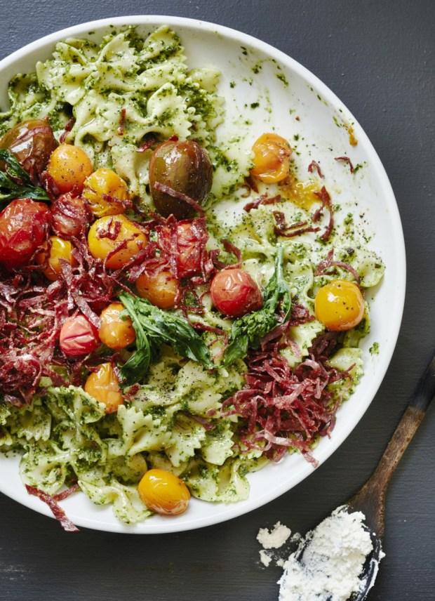 Farfalle with Broccoli Rabe Pesto, Fried Salami, and Burst Tomatoes