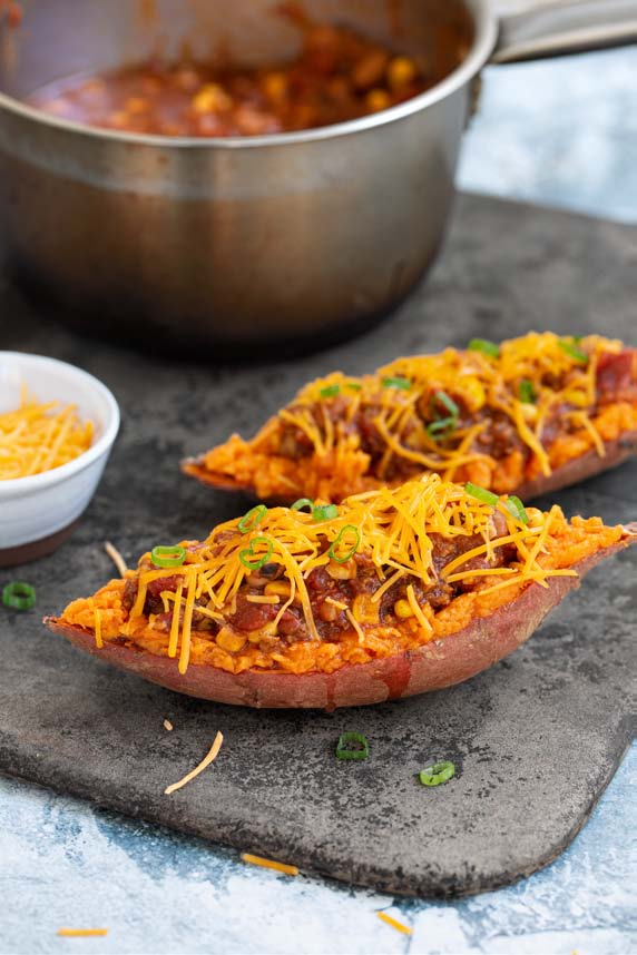 Quick Chill-Topped Sweet Potatoes