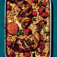 Smoky paprika chicken with warm cannellini beans