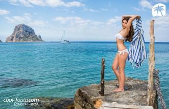 Tricolor Blue Marine - Alice Blue - White Yatching fouta by Cool-Fouta, Photo: Jose Antonio Hervas Mora - Ibiza Lights, Model: Andrew Varel-la, Make up & Hair: Coco Bliss