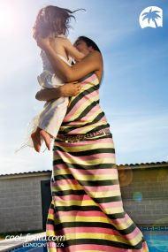 Tricolor Vanilla/Black/Strawberry fouta by Cool-Fouta, Photo: Miguel Álvarez, Models: Babe & Paula Yunis, Make up & set design: Inusual Art Studio, Hairstyle: Fran de la Hoz Blanco