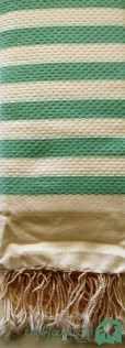 Honeycomb Cream - Paris Green stripes by Cool-Fouta
