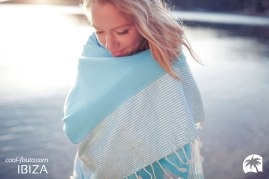 COOL-FOUTA HAMMAM CLASSIC FOUTA Hammam Towel Silver Lurex Stripes on Scuba Blue solid color Honeycomb Fouta by Cool-Fouta at http://www.foutadeibiza.es | Photo by http://www.adriencrasnault.com/