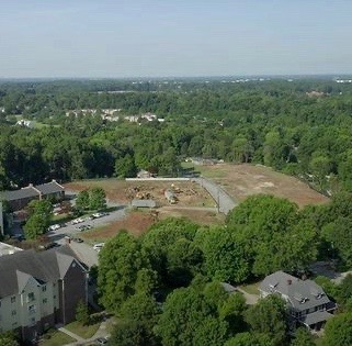 a photo of greensboro's friend's home property from a drone