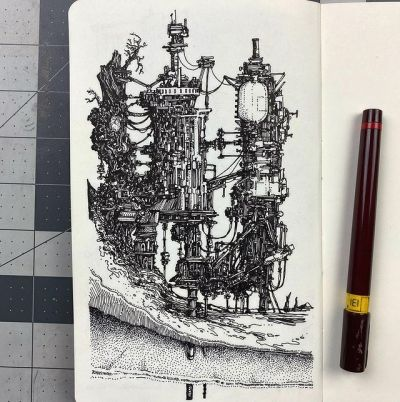 a photo of a notebook of a pen and ink drawing by peter draws