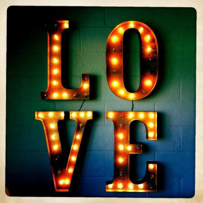 a photo of marquee letters spelling out the word love