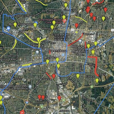 a map of greensboro nc with locations marked for litter pickup