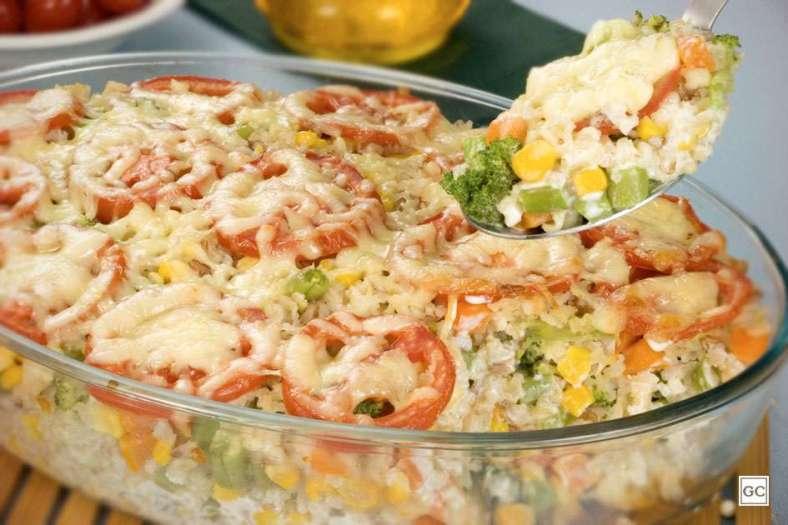 Receita de Arroz de forno cremoso com legumes