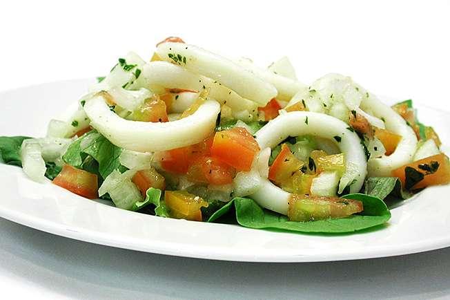 Receita de Salada com lulas ao vinagrete