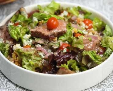 Receita de Salada de bife com pouco carboidrato e vinagrete de Dijon