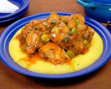 Receita de Frango com quiabo e polenta